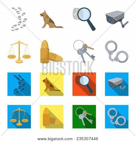 Scales Of Justice, Cartridges, A Bunch Of Keys, Handcuffs.prison Set Collection Icons In Cartoon, Fl