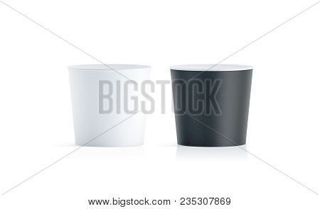 Blank Black And White Food Bucket Mockup Isolated, 3d Rendering. Empty Pail Fastfood Front Side View