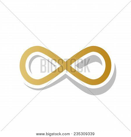 Limitless Symbol Illustration. Vector. Golden Gradient Icon With White Contour And Rotated Gray Shad