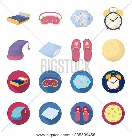 Night Cap, Pillow, Slippers, Moon. Rest And Sleep Set Collection Icons In Cartoon, Flat Style Vector
