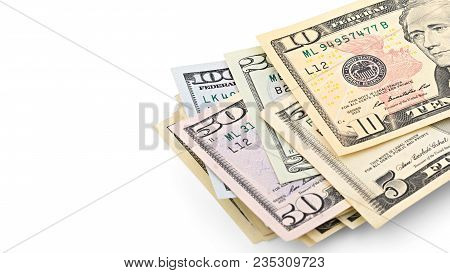 Series American Money  5,10, 20, 50, New 100 Dollar Bill Isolated On White Background Clipping Path