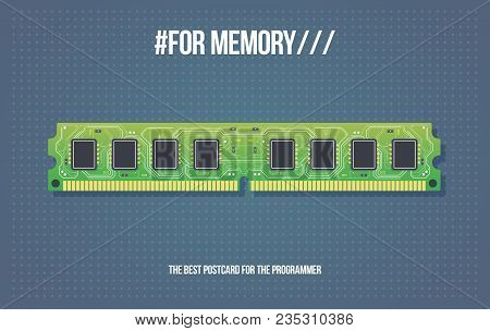 Gift Card With Ddr Ram Memory Module. Computer Ram Memory Cards. Electronic Board In Cartoon Style.