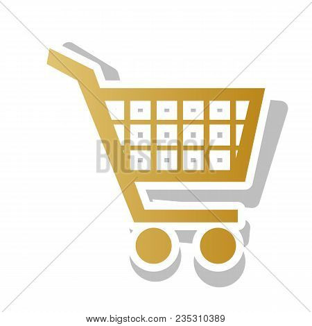 Shopping Cart Sign. Vector. Golden Gradient Icon With White Contour And Rotated Gray Shadow At White