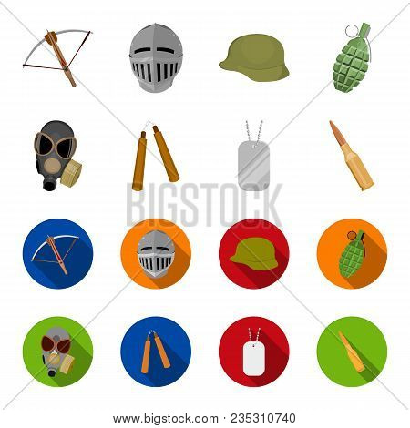 Gas Mask, Nunchak, Ammunition, Soldier Token. Weapons Set Collection Icons In Cartoon, Flat Style Ve