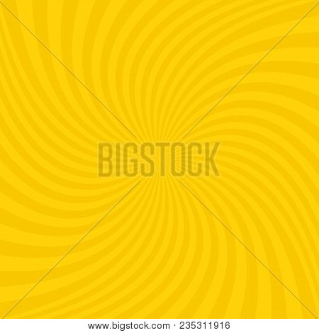 Abstract Spiral Design Background From Golden Radial Swirling Ray Stripes - Vector Illustration