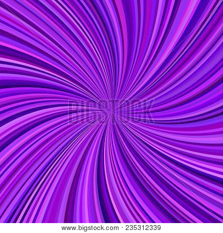 Abstract Purple Swirl Background From Curved Spiral Ray Stripes - Vector Graphic