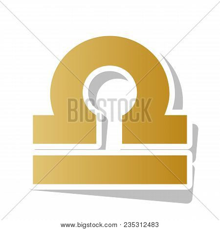 Libra Sign Illustration. Vector. Golden Gradient Icon With White Contour And Rotated Gray Shadow At