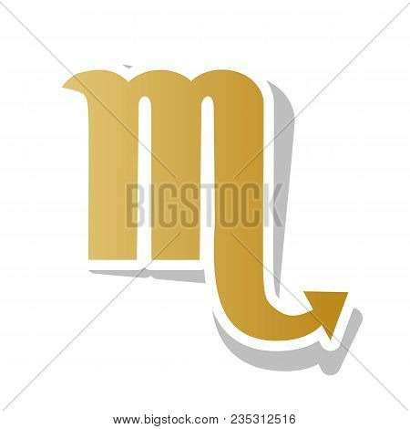Scorpio Sign Illustration. Vector. Golden Gradient Icon With White Contour And Rotated Gray Shadow A