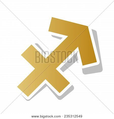 Sagittarius Sign Illustration. Vector. Golden Gradient Icon With White Contour And Rotated Gray Shad
