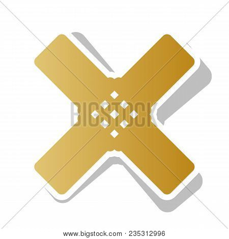 Aid Sticker Sign. Vector. Golden Gradient Icon With White Contour And Rotated Gray Shadow At White B