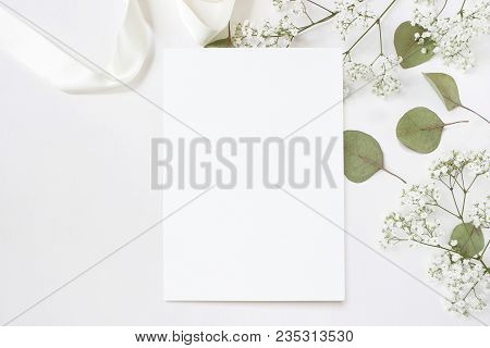 Styled Stock Photo. Feminine Wedding Desktop Stationery Mockup With Blank Greeting Card, Baby's Brea