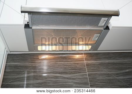 Modern Air Exhauster Kitchen Fan Or Range Hood. Stainless Steel Chimney Hood With Metal Pipe. Cooker