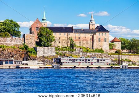 Akershus Fortress In Oslo, Norway. Akershus Festning Is A Medieval Fortress That Was Built To Protec