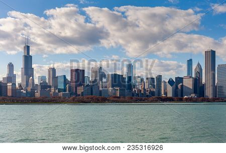 Skyline Skyscrapers. Absolutely Stunning View Of Chicago From The Lake Michigan Vintage Colors.