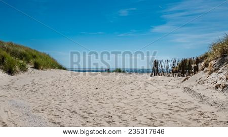 View Over The Dunes Towards The Seashore Of The Frisian Wadden Island Of Ameland, Netherlands
