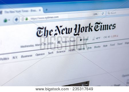 Ryazan, Russia - March 28, 2018 - Homepage Of The New York Times On The Display Of Pc, Web Address -