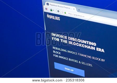 Ryazan, Russia - March 29, 2018 - Homepage Of Populous Crypto Currency On The Display Of Pc, Web Add