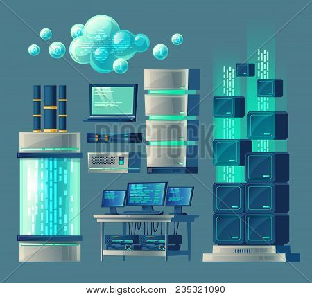 Vector Cartoon Set Of Equipment And Devices For Data Processing And Storage, Database, Cloud Service