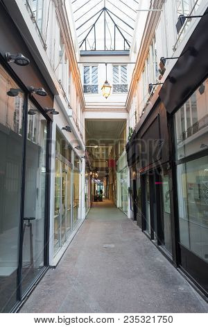 Paris, France-march 24, 2018:the Passage Du Caire Is The Oldest Covered Arcade In Paris. Situated In
