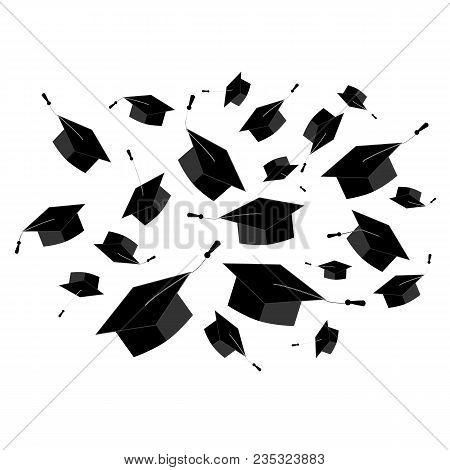 Graduation Caps Fly In The Air In A Moment Of Celebration. Abstract Cloud Element For Graduation Cer