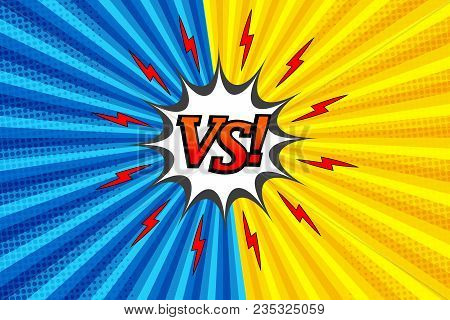 Comic Versus Colorful Fight Background With Two Opposite Yellow And Blue Sides, Red Lightnings, Whit