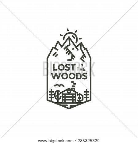 Vintage Linear Travel Badge. Camping Line Art Label Concept. Mountain Expedition Logo Design. Travel