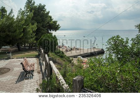 Chalkidiki, Central Macedonia, Greece - August 25, 2014: Panoramic View Of Metamorfosi Beach At Sith