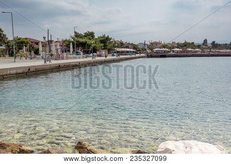 Chalkidiki, Central Macedonia, Greece - August 25, 2014: Panoramic View Of Nikiti Beach At Sithonia