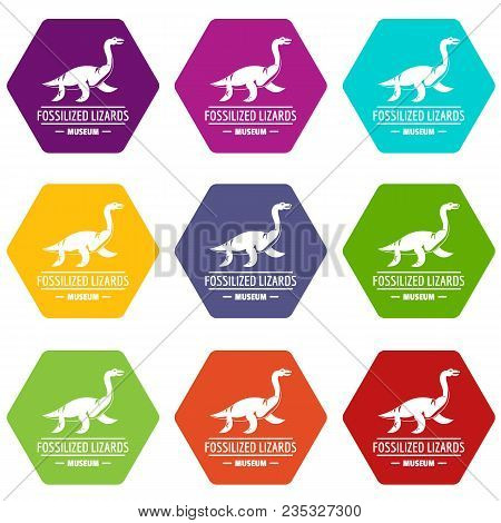 Jurassic Museum Icons 9 Set Coloful Isolated On White For Web