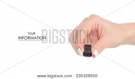 Bluetooth Usb Adapter In Hand Pattern On White Background Isolation