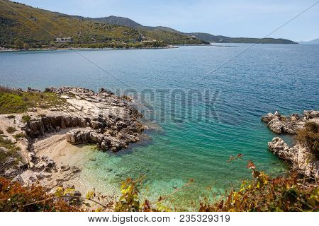 Beautiful Rocky Beach From Kassiopi In Corfu, Greece