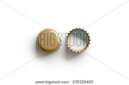 Blank White Golden Beer Lid Mockup, Top View, Front And Back Side, 3d Rendering. Empty Metal Soda Ca