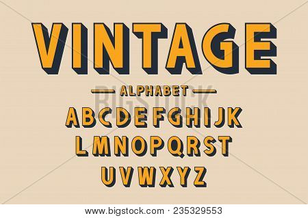 Retro Bold Font And Alphabet. Strong Letters With Long Shadows In Vintage Style. Retro Typography, P