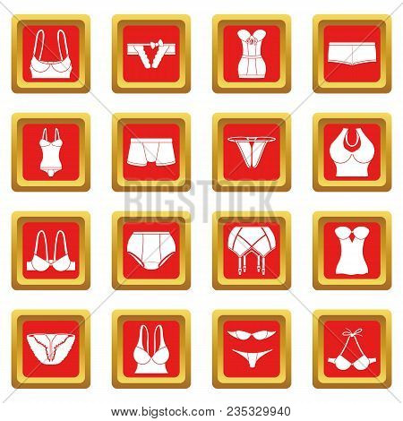 Underwear Icons Set Vector Red Square Isolated On White Background