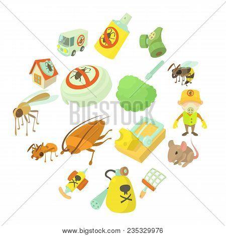 Pest Control Terminate Icons Set. Cartoon Illustration Of 16 Pest Control Terminate, Vector Icons Fo