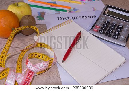 Diet Plan. The Concept Of Weight Loss, Wellness And Healthy Lifestyle. Vegetarian Fruit Diet. Produc