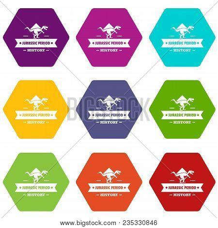 Jurassic History Icons 9 Set Coloful Isolated On White For Web