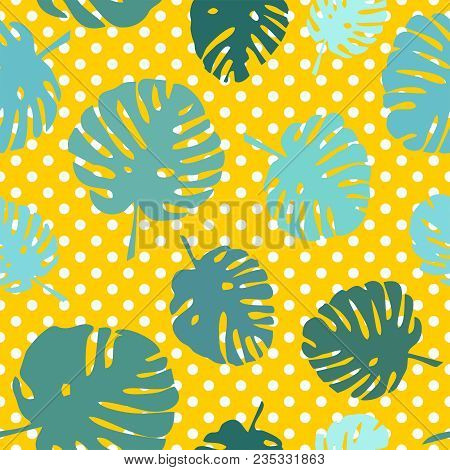 Tile Tropical Vector Pattern With Exotic Leaves On Polka Dots Yellow Background
