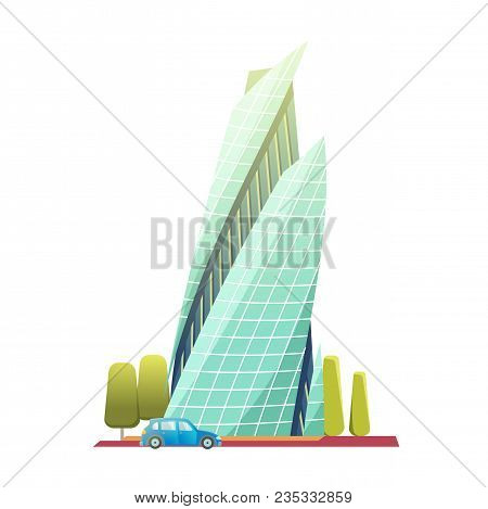 Downtown Skyscrapers With Shiny Glass Facades. Modern Flat Style Vector Illustration Isolated On Whi