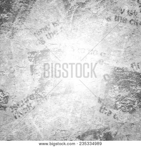 Old Grunge Newspaper Collage Paper Texture Square Background. Blurred Vintage Newspaper Pattern. Spa