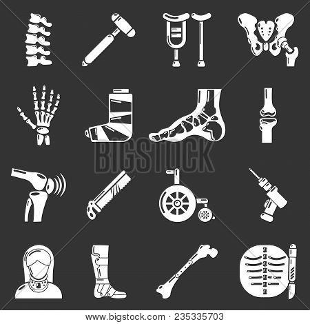 Orthopedist Bone Tools Icons Set Vector White Isolated On Grey Background