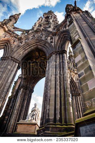 Victorian Gothic monument to Scottish author Sir Walter Scott in Princes Street Gardens, Edinburgh, Scotland, UK