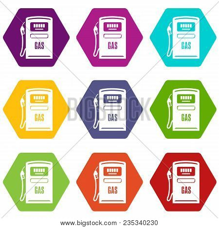 Gas Column Icons 9 Set Coloful Isolated On White For Web