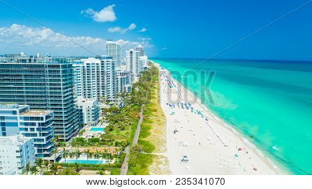 Aerial view of South Beach, Miami Beach. Florida. Atlantic Ocean. USA.