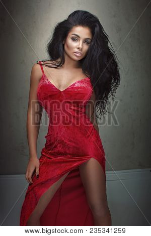 Elegant Sexy Lady In Red Dress.