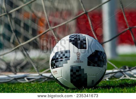 April 9, 2018 Moscow, Official Ball Of Fifa World Cup 2018 Adidas Telstar 18 On The Green Grass Of T