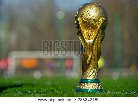 April 9, 2018 Moscow, Russia Trophy Of The Fifa World Cup  Against The Backdrop Of The Spartak Stadi
