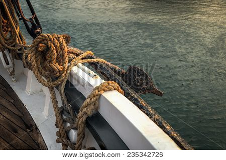 Rope And Anchor On 101 Year Old Sailboat - Historic Wooden Schooner