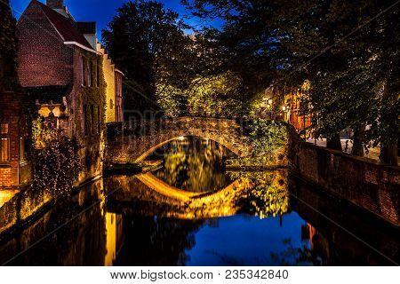 Night View Of Bruges City, Belgium, Nightshot Of Brugge Canals, Traditional Belgium Architecture