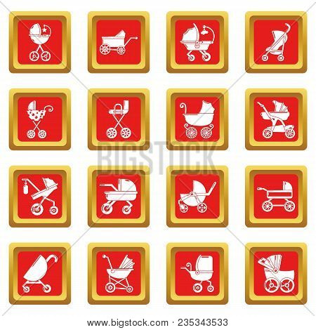Baby Carriage Icons Set Vector Red Square Isolated On White Background